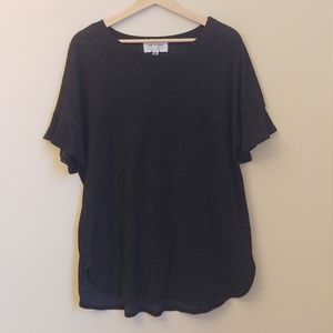 Cloth & Stone Gray Shimmer Flutter Crew Neck Top